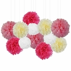 12pcs Decorative Tissue Paper Pom Poms (12pcs, Baby Girl) - Premier