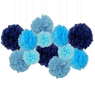 12pcs Decorative Tissue Paper Pom Poms (12pcs, Blues) - Premier