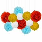 12pcs Decorative Tissue Paper Pom Poms (12pcs, Carnival) - Premier
