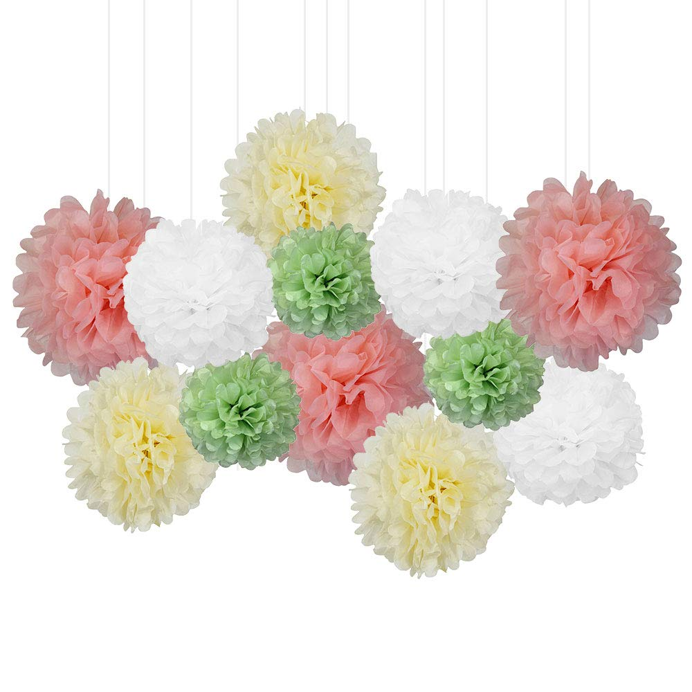 12pcs Decorative Tissue Paper Pom Poms (12pcs, Floral) - Premier