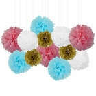 12pcs Decorative Tissue Paper Pom Poms (12pcs, Gender Reveal) - Premier