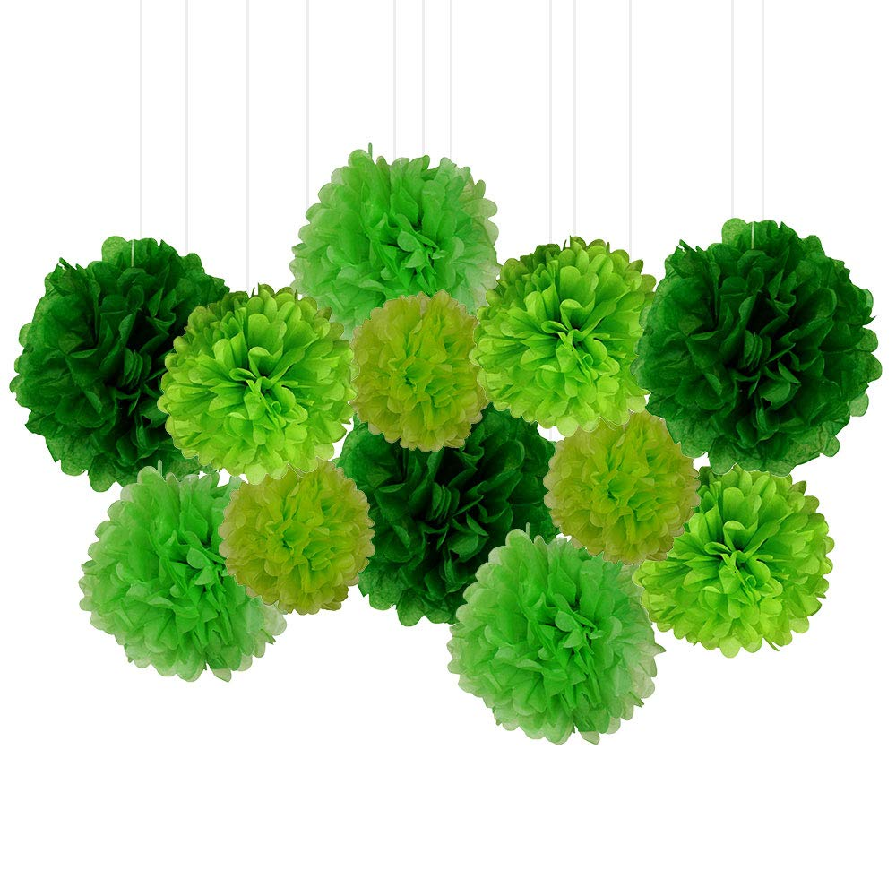12pcs Decorative Tissue Paper Pom Poms (12pcs, Greens) - Premier
