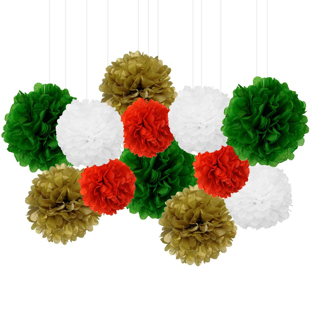 12pcs Decorative Tissue Paper Pom Poms (12pcs, Jingle Bells) - Premier