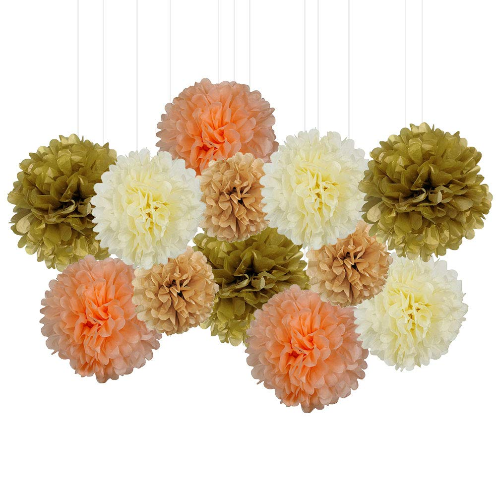 12pcs Decorative Tissue Paper Pom Poms (12pcs, Just Peachy) - Premier