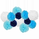 12pcs Decorative Tissue Paper Pom Poms (12pcs, Little Boy Blue) - Premier