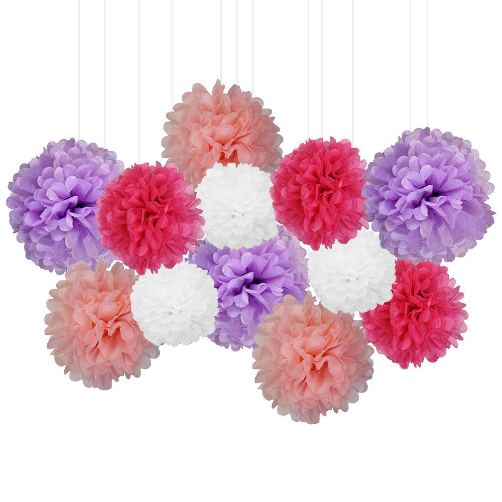 12pcs Decorative Tissue Paper Pom Poms (12pcs, Little Princess) - Premier