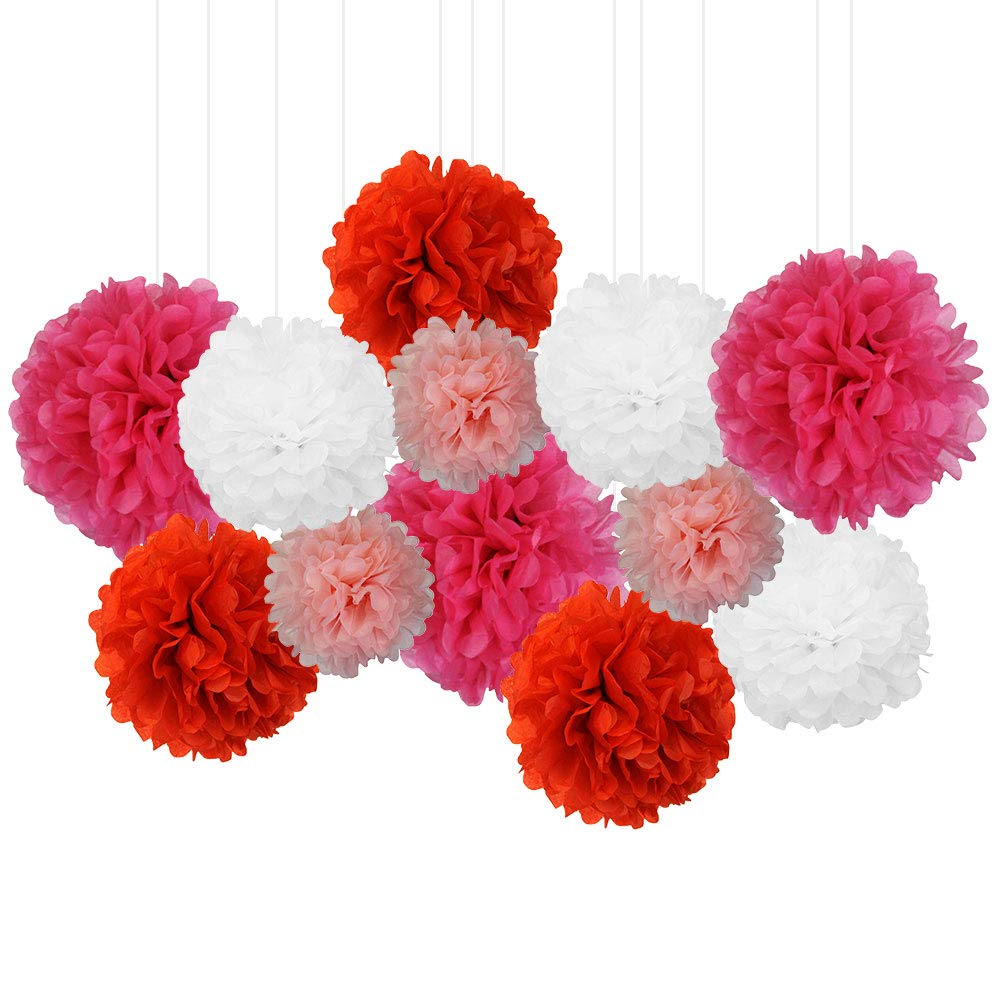 12pcs Decorative Tissue Paper Pom Poms (12pcs, Love) - Premier