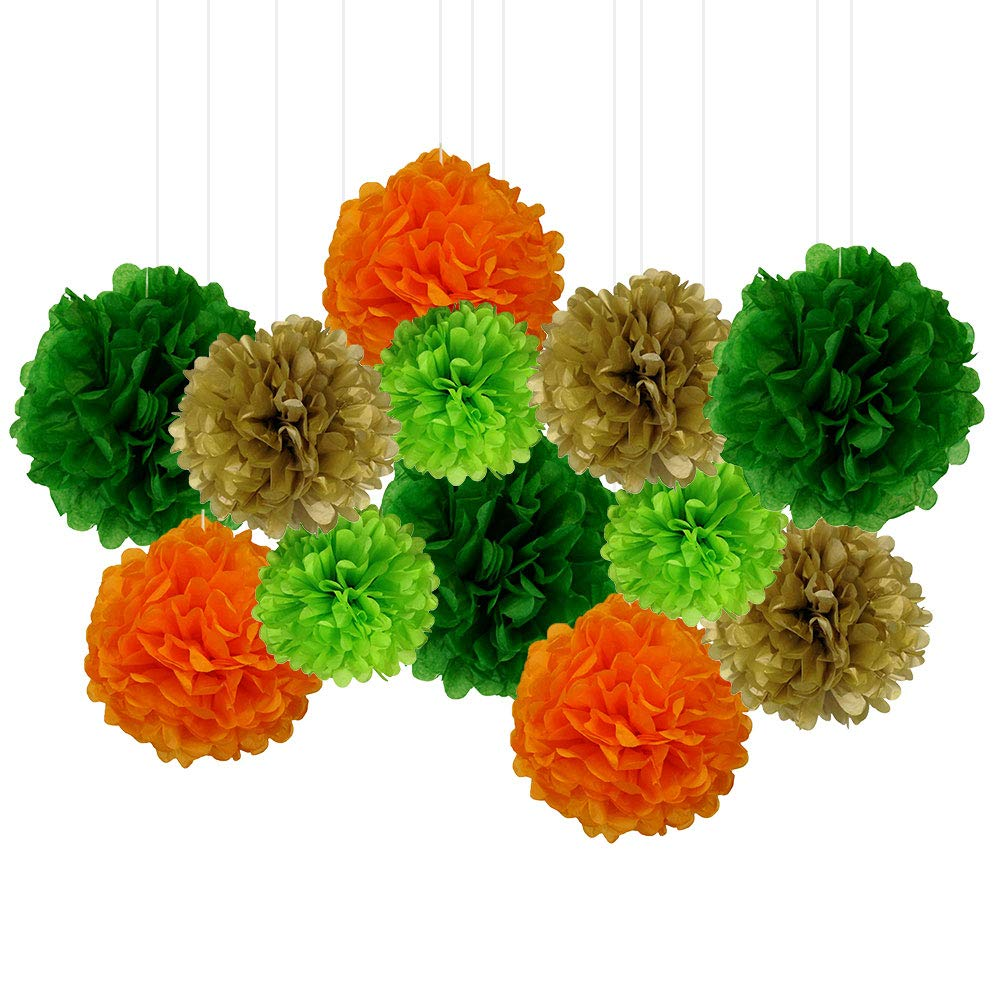 12pcs Decorative Tissue Paper Pom Poms (12pcs, Lucky Leprechaun) - Premier