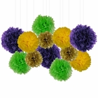 12pcs Decorative Tissue Paper Pom Poms (12pcs, Mardi Gras) - Premier