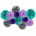 12pcs Decorative Tissue Paper Pom Poms (12pcs, Mermaid) - Premier
