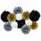 12pcs Decorative Tissue Paper Pom Poms (12pcs, Midnight) - Premier