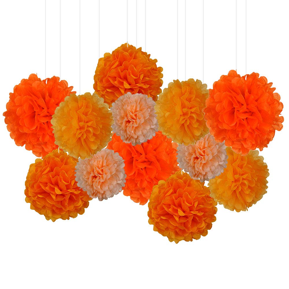 12pcs Decorative Tissue Paper Pom Poms (12pcs, Oranges) - Premier