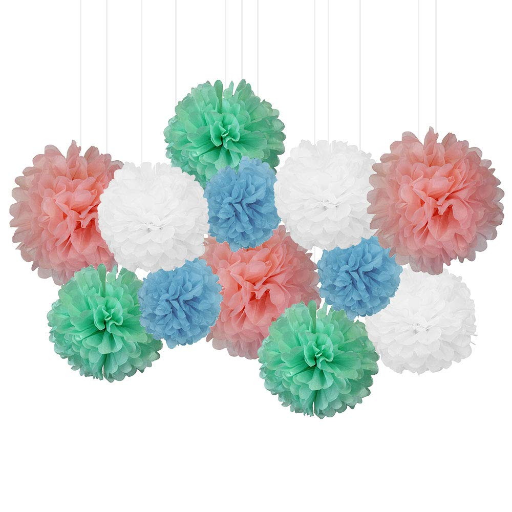 12pcs Decorative Tissue Paper Pom Poms (12pcs, Pastels) - Premier
