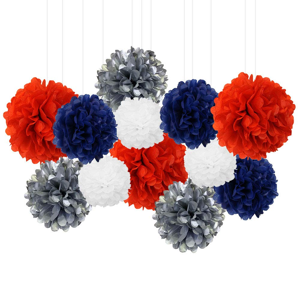 12pcs Decorative Tissue Paper Pom Poms (12pcs, Patriotic) - Premier