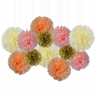 12pcs Decorative Tissue Paper Pom Poms (12pcs, Peachy Blush) - Premier