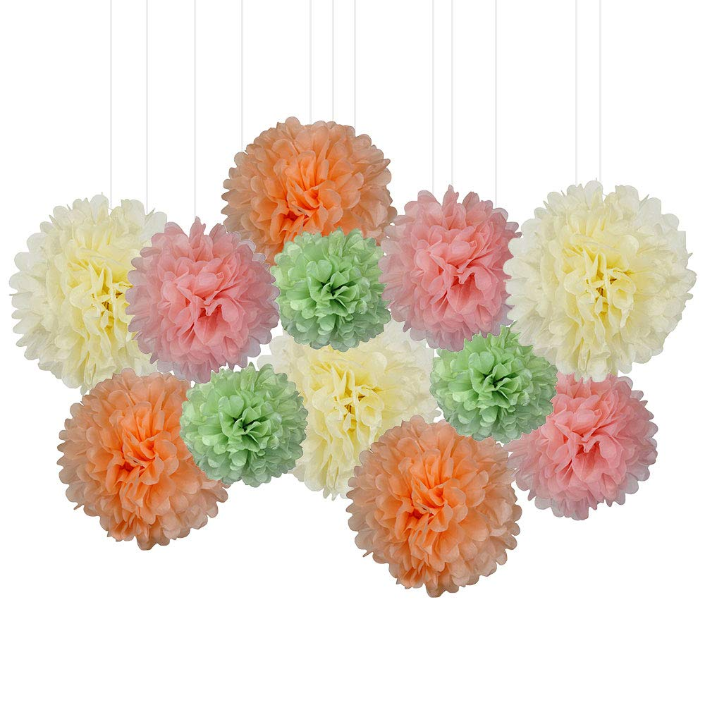 12pcs Decorative Tissue Paper Pom Poms (12pcs, Peachy Keen) - Premier