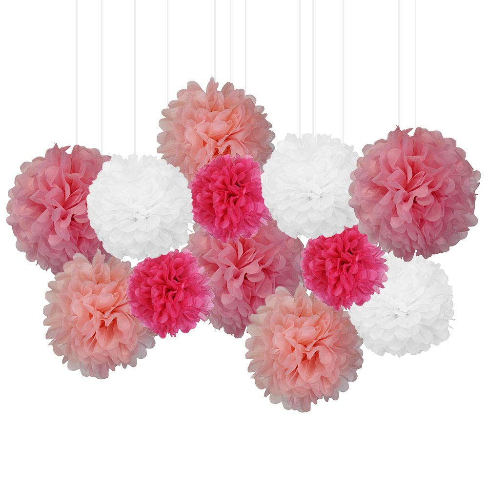 12pcs Decorative Tissue Paper Pom Poms (12pcs, Pretty in Pink) - Premier