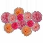 12pcs Decorative Tissue Paper Pom Poms (12pcs, Princess Peach Fuzz) - Premier
