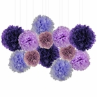 12pcs Decorative Tissue Paper Pom Poms (12pcs, Purples) - Premier