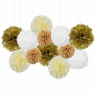 12pcs Decorative Tissue Paper Pom Poms (12pcs, Rustic) - Premier