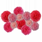 12pcs Decorative Tissue Paper Pom Poms (12pcs, Think Pink) - Premier