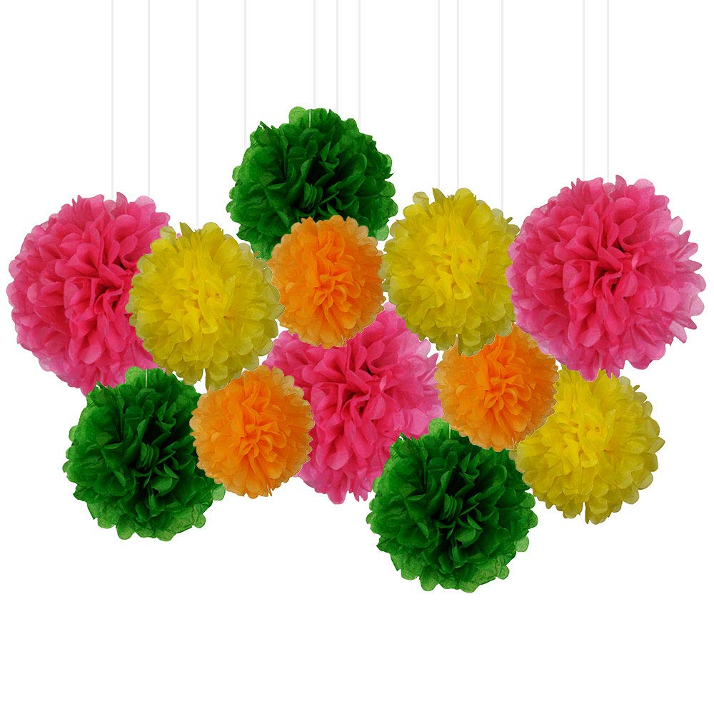 12pcs Decorative Tissue Paper Pom Poms (12pcs, Tropical) - Premier
