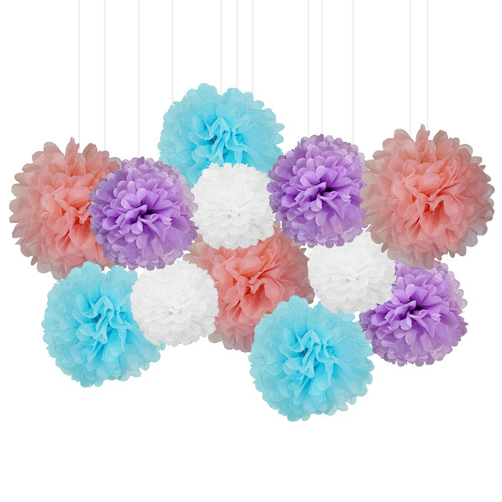 12pcs Decorative Tissue Paper Pom Poms (12pcs, Unicorn) - Premier