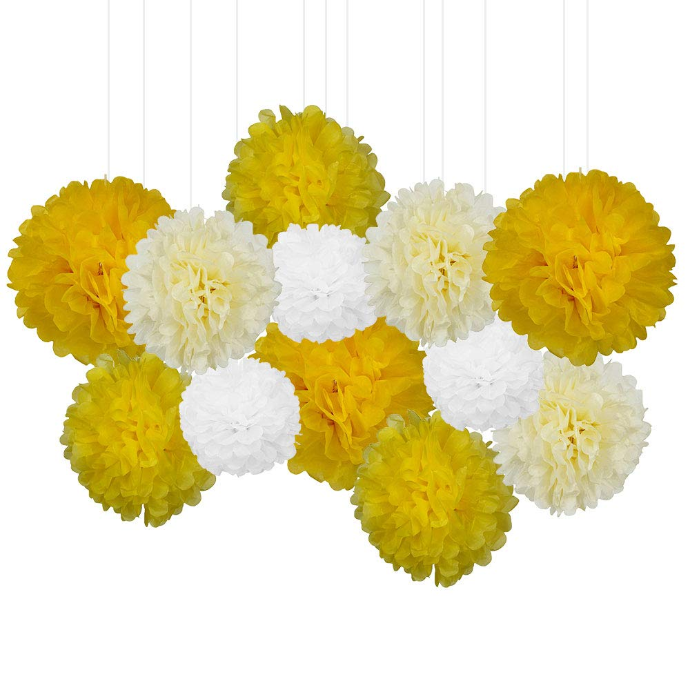 12pcs Decorative Tissue Paper Pom Poms (12pcs, Yellows) - Premier
