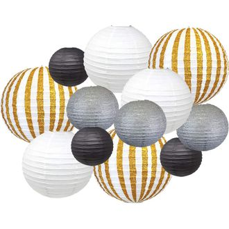 12pcs New Years Eve Party Paper Lantern Decorations (Color: New Year's Kiss) - Premier