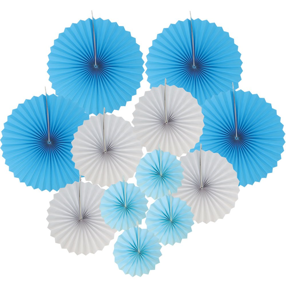 12pcs Paper Pinwheel Decorative Assorted Size/Color Pack (Baby Boy) - Premier
