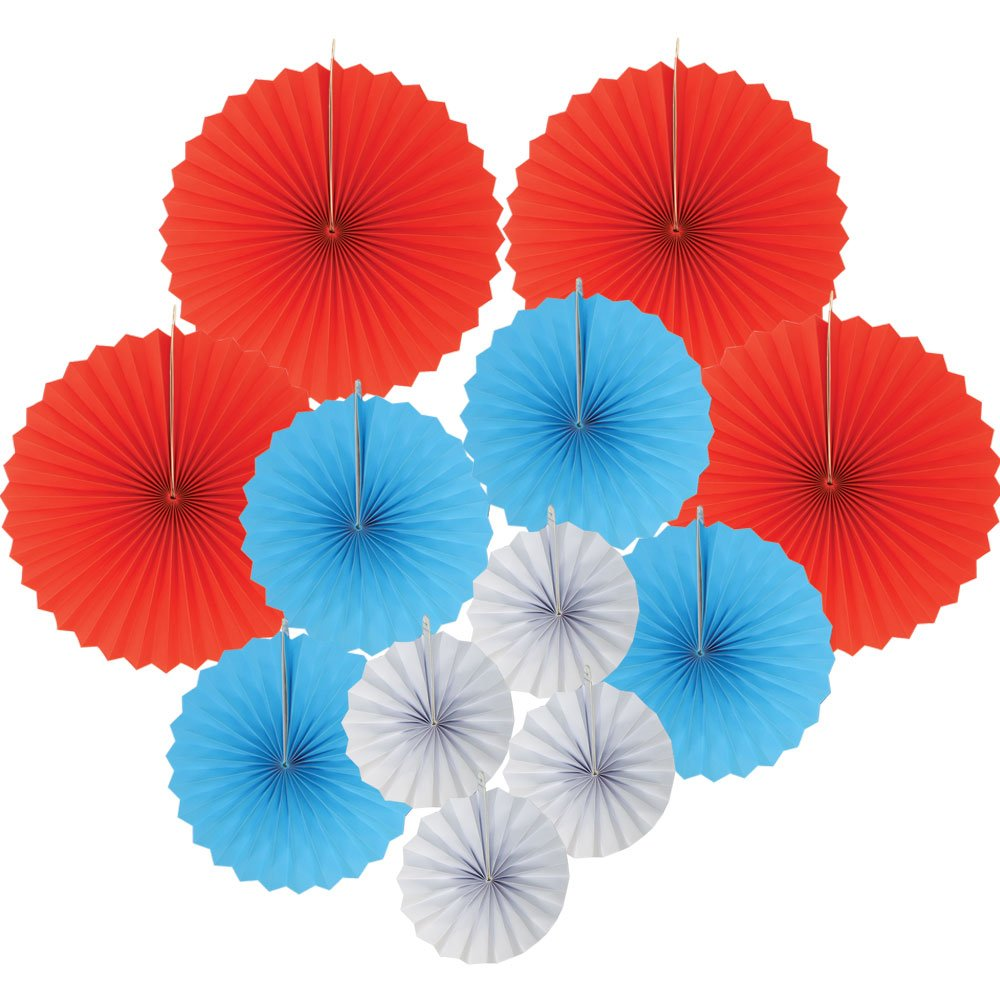 12pcs Paper Pinwheel Decorative Assorted Size/Color Pack (Freedom) - Premier