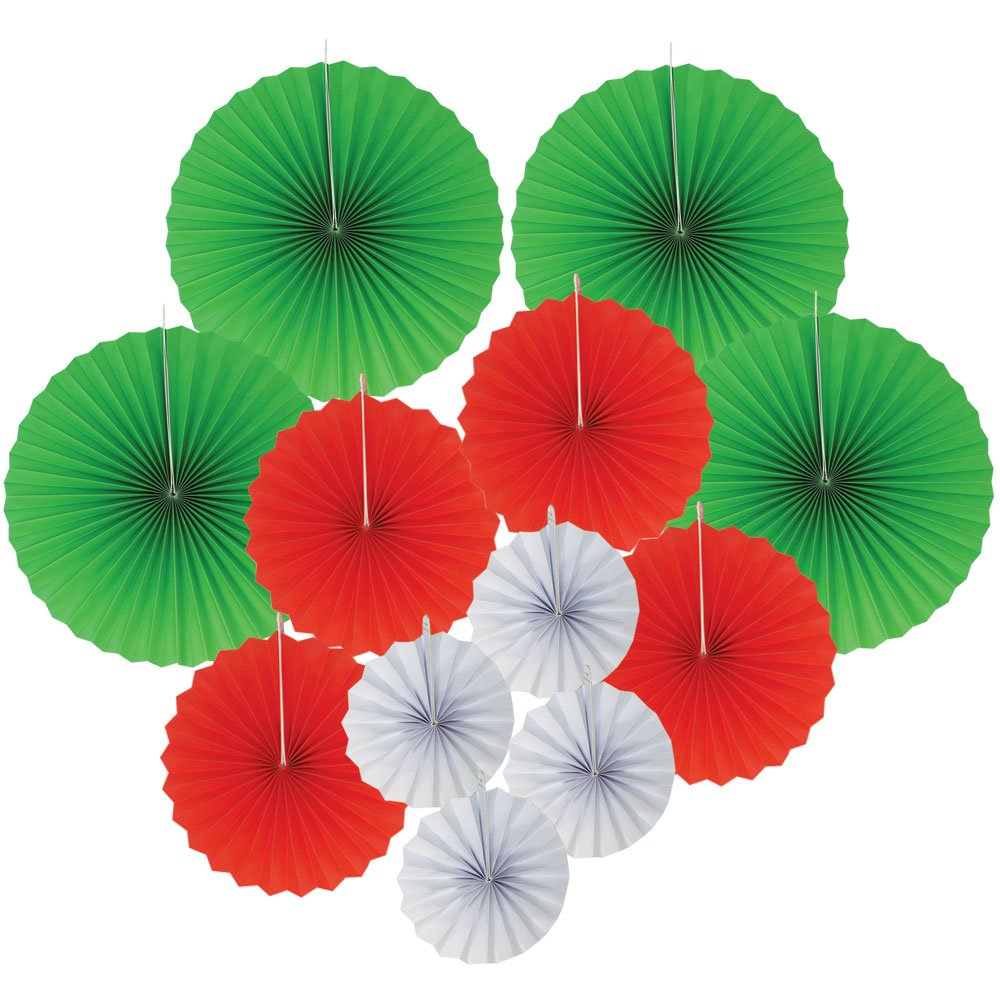 12pcs Paper Pinwheel Decorative Assorted Size/Color Pack (Jingle Bells) - Premier