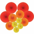 12pcs Paper Pinwheel Decorative Assorted Size/Color Pack (On Fire) - Premier