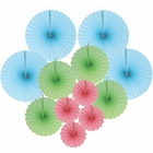 12pcs Paper Pinwheel Decorative Assorted Size/Color Pack (Pastels) - Premier