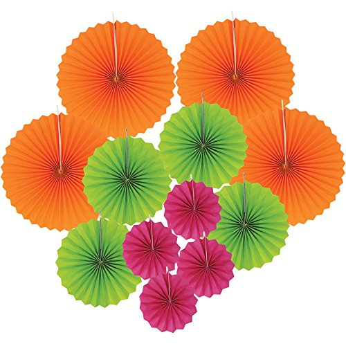 12pcs Paper Pinwheel Decorative Assorted Size/Color Pack (Tropical) - Premier