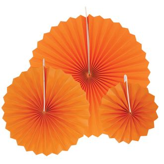 12pcs Paper Pinwheel Decorative Assorted Size Pack (Orange) - Premier