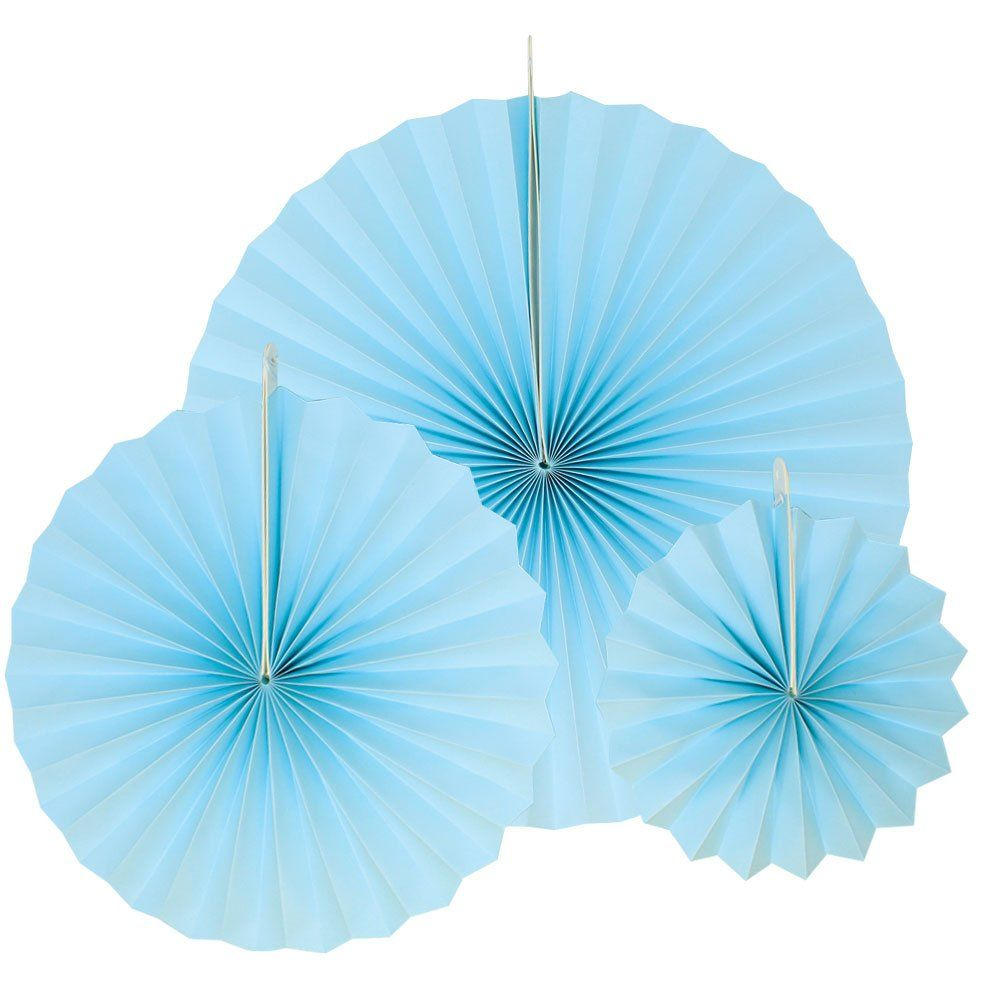 12pcs Paper Pinwheel Decorative Assorted Size Pack (Sky Blue) - Premier
