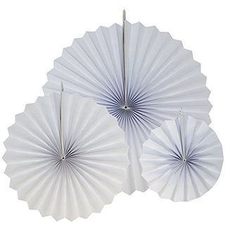 12pcs Paper Pinwheel Decorative Assorted Size Pack (White) - Premier