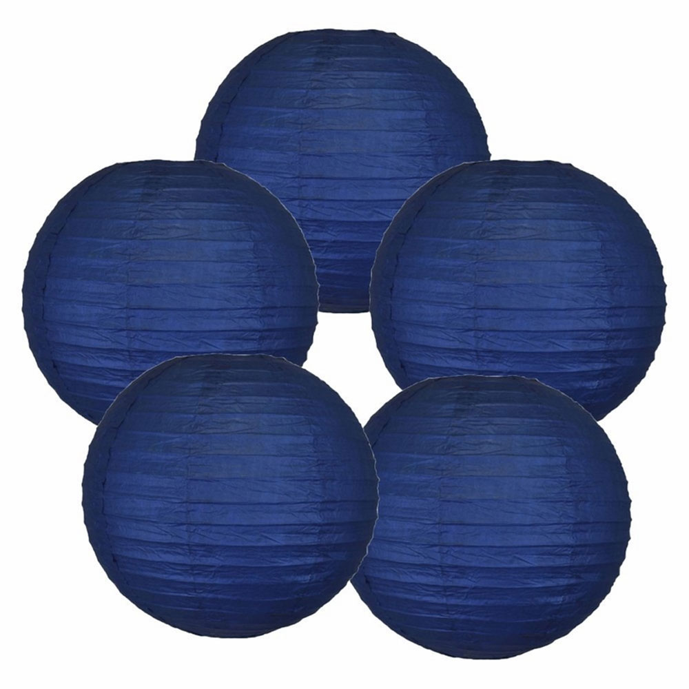 "14"" Navy Blue Chinese Paper Lanterns (Set of 5, 14-inch, Navy Blue) - Premier"