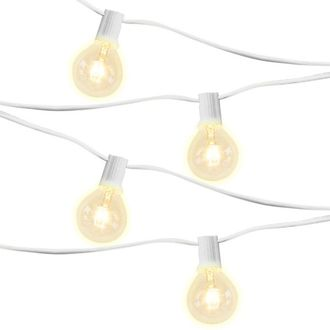 15 Socket 21ft 9in White Globe String Lights with 405W Bulbs
