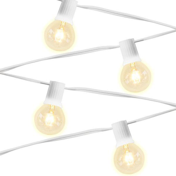 15 Socket 29ft 10in White Globe String Lights with 407W Bulbs