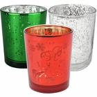 15pc Christmas Metallic Glass Votive Candle Holders (Color: Believe) - Premier