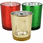 15pc Christmas Metallic Glass Votive Candle Holders (Color: Holiday Cheer) - Premier