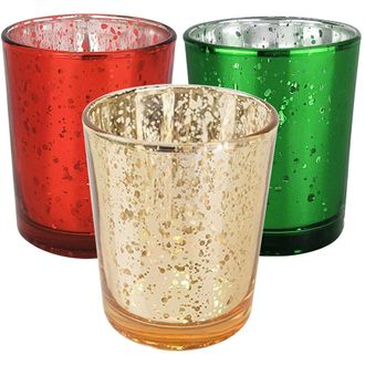 15pc Christmas Metallic Glass Votive Candle Holders (Color: Holly Jolly) - Premier