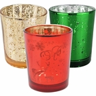 15pc Christmas Metallic Glass Votive Candle Holders (Color: Silent Night) - Premier