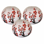 "16"" Red Sakura (Cherry) Flowers Chinese Paper Lanterns (Set of 3, Cherry Blossom) - Premier"