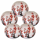 "16"" Red Sakura (Cherry) Flowers Chinese Paper Lanterns (Set of 5, Cherry Blossom) - Premier"