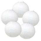 "16"" White Chinese Paper Lanterns (Set of 5, 16-inch, White) - Premier"