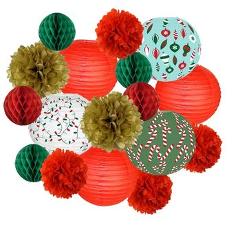 17pcs Holly Holiday Paper Lantern Hanging Kit - Premier