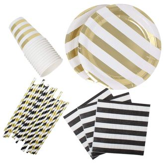 182pcs Graduation Tableware Set (Color: Black & Gold) - Premier